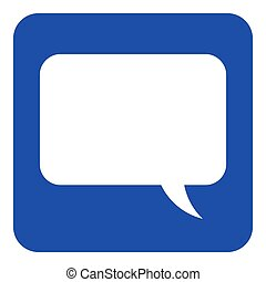 blue, white information sign, speech bubble icon