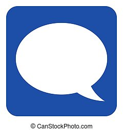 blue, white information sign - speech bubble icon