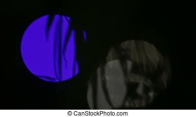 Blue White Light Flares in Night Pan - Blue white light...