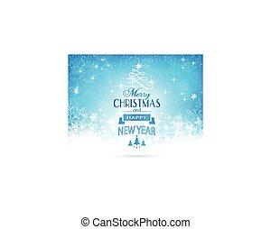 Blue white Merry Christmas card