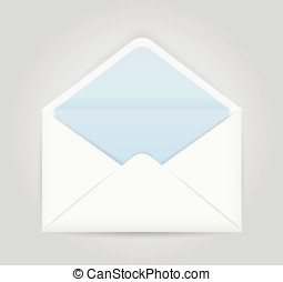 Blue white opened envelope isolated on grey background....