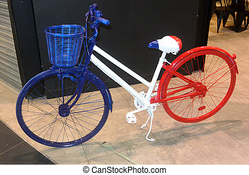 Blue-white-red bike 1, colors of the flag of France, close-up