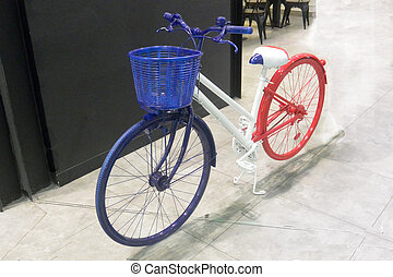 Blue-white-red bike 3, colors of the flag of France, close-up