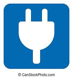 blue, white sign - electrical plug symbol icon