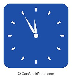 blue, white sign - last minute clock icon