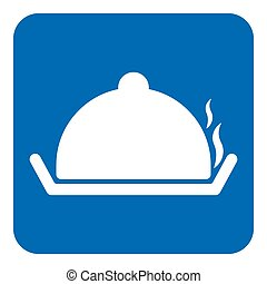 blue, white sign - serving tray with lid and smoke