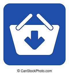 blue, white sign - shopping basket add icon