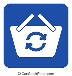 blue, white sign - shopping basket refresh icon