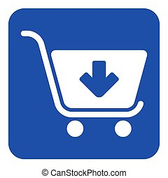 blue, white sign - shopping cart add icon