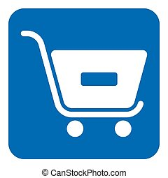 blue, white sign - shopping cart minus, remove