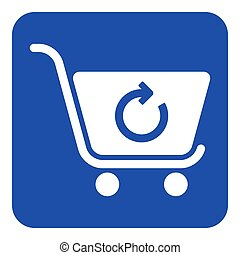 blue, white sign - shopping cart refresh icon