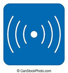 blue, white sign - sound, vibration symbol icon