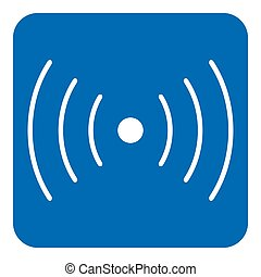 blue, white sign - sound, vibration symbol icon