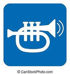 blue, white sign - trumpet and two vibration waves
