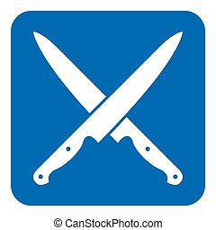 blue, white sign - two crossed kitchen knives icon