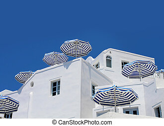 Blue white sunshade umbrellas