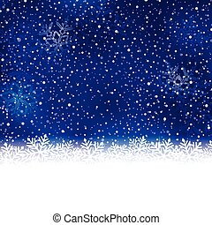 Blue white winter, Christmas background with snow flake border