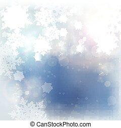 Blue white winter Christmas snowflake background