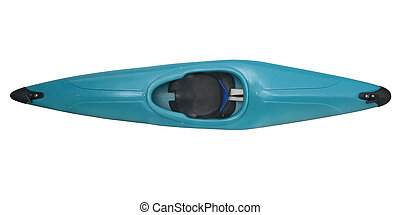 blue plastic whitewater kayak, foam seat and back support, isolated with clipping path, view from above