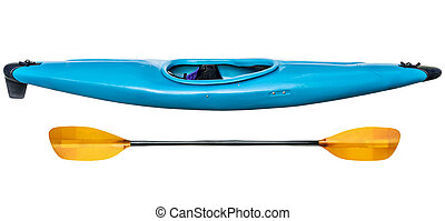 blue whitewater kayak - blue plastic whitewater kayak with a...