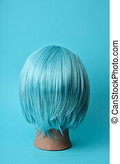 blue wig in a mannequin head