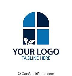 blue window logo, Vector illustration isolated on white background.