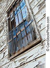 Blue Window on Old Wall