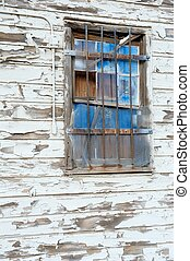 Blue Window on Old Wall