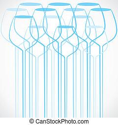Blue wine glass background