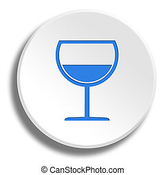 Blue wine glass in round white button with shadow