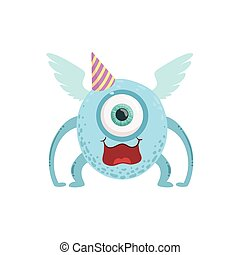 Blue Winged Friendly Monster In Party Hat