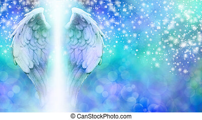 Wide blue bokeh background with a rainfall of different sized sparkles falling from top to bottom and a large pair of Angel Wings on the left side with a shaft of bright light between