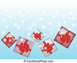 Blue winter abstract background with gifts.