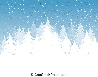 Blue Winter background - Winter background. Fir trees...