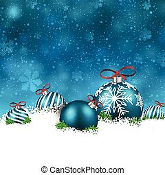 Blue winter background with christmas balls.