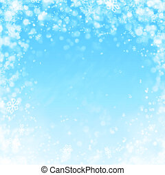 blue winter background with snow and snowflakes