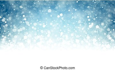 Blue winter background with snow.