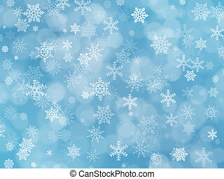 Blue winter background with snowflakes and boke effect -...