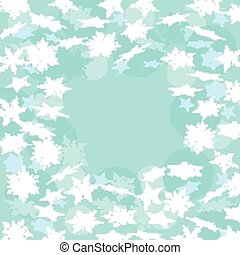 Blue winter background with snowflakes. Vector