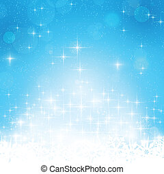 Blue winter, Christmas background with stars and lights - ...