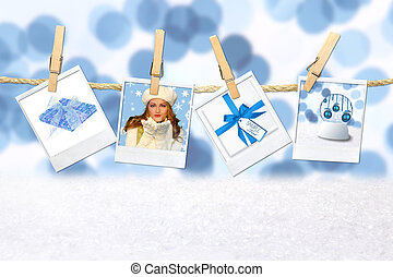 Blue Winter Christmas Holiday Related Pictures on Hanging Film Blanks