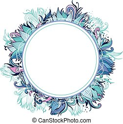 Blue Winter Floral Frame with Lotus