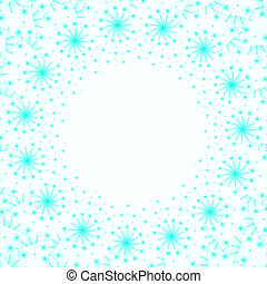 Blue Winter Frame With Snowflakes On White Background
