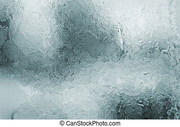 frosted window - blue winter frosted window with beautiful...