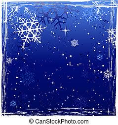 Blue Winter Grunge Snowflake Background