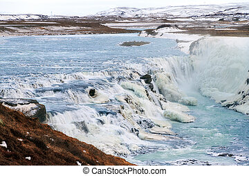 Blue winter Gullfoss