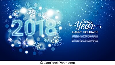 blue winter holidays background with snowflakes bokeh snow falling new year concept