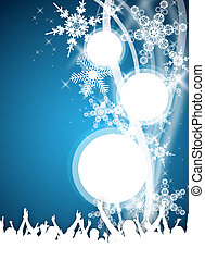 blue winter party flyer