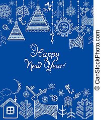 Blue winter seamless border with hanging toys