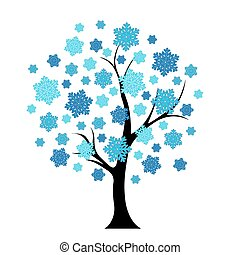 Blue winter tree